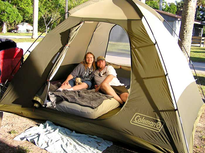 Hereu0027s a shot of the happy c&ers after pitching their new Coleman 10u0027 x 8u0027 Sundome tent. & Collier-Seminole State Park Photos